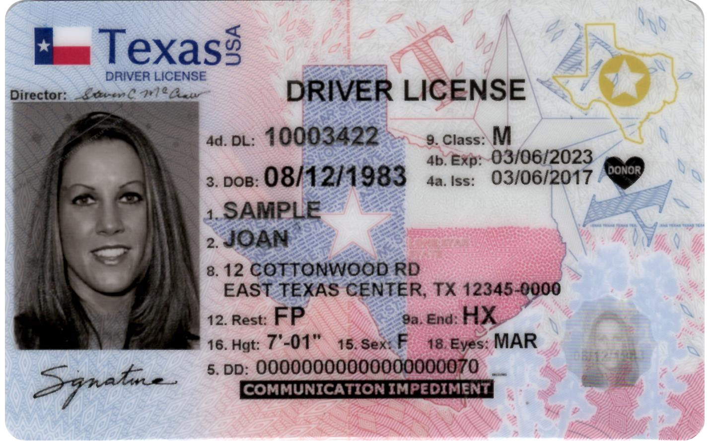 Texas driver license image