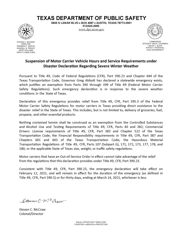 Suspension of Motor Carrier Vehicle Hours and Service Requirements under Disaster Declaration Regarding Severe Winter Weather